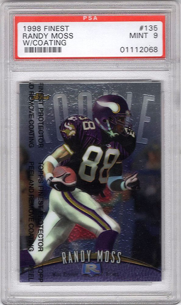 1998 Topps Finest 135 Randy Moss Rc Rookie Card Mint Psa 9 Hall Of Fame