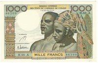 1000 Francs 1959/65 Elfenbeinküste Cote d\'ivoire West African States