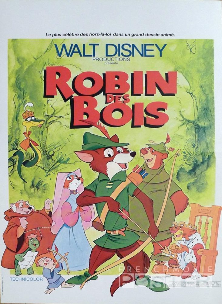 Robin Hood Disney Reissue Small French Movie Poster