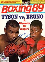 Mike Tyson & Frank Bruno Autographed Boxing Magazine Cover PSA/DNA #Q90530