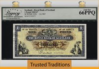 1 Pound 1965-67 Scotland Royal Bank Of Scotland Lcg 66 Ppq Gem New!
