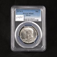 1976 S Kennedy Silver Half Dollar, PCGS MS66, Bi-Centennial Coin, Gem Uncirculated, Graded in Holder