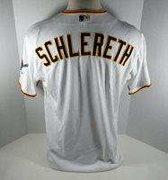 2014 Pittsburgh Pirates Daniel Schlereth # Game Issued White Jersey Kiner P 227