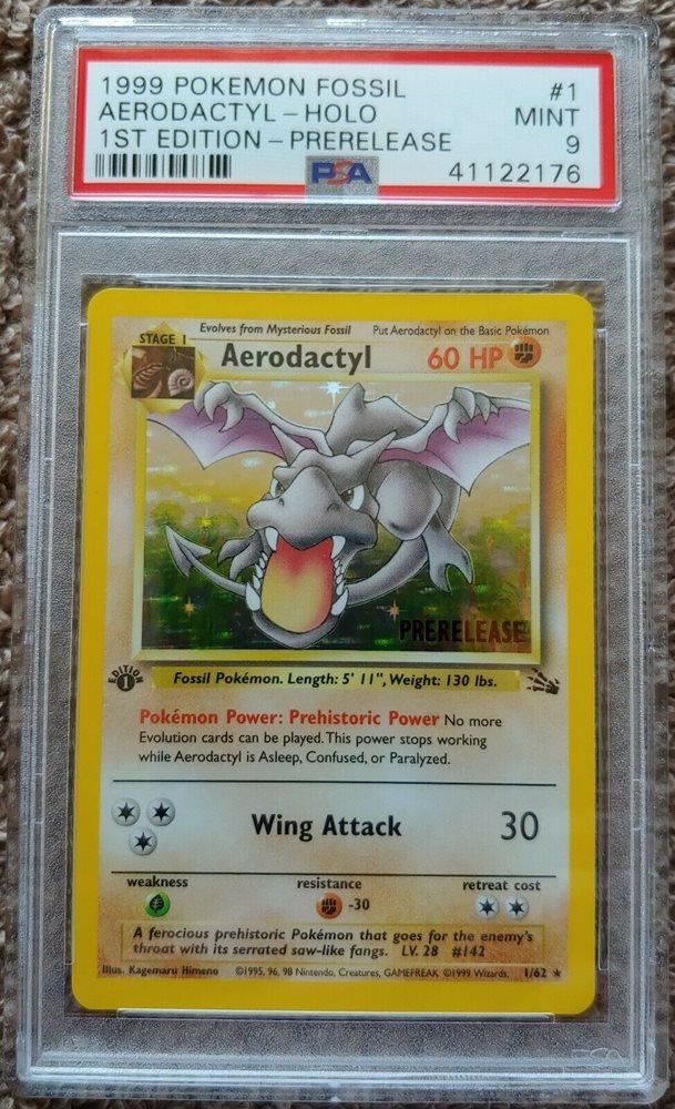 PSA 8 NM-MINT Aerodactyl 1//62 PRERELEASE 1st Edition BROWN STAMP Pokemon Card