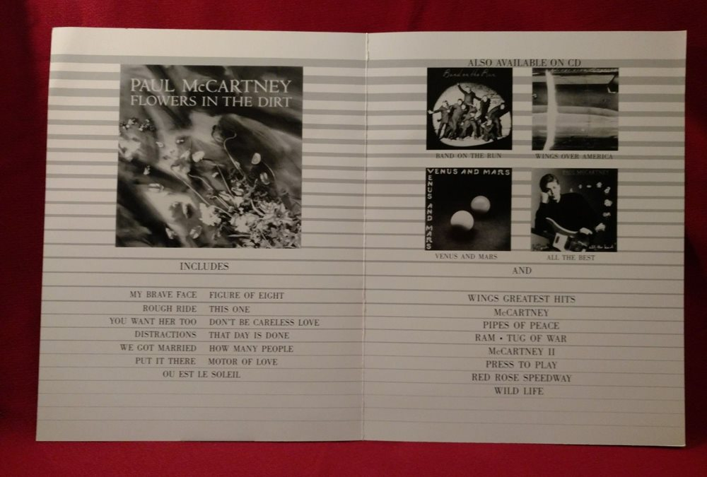Paul McCartney Flowers In The Dirt Promo Order Sheets