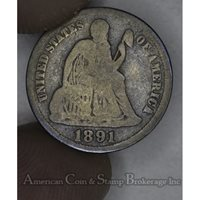 10c Cent Dime 1891 VG8 dark toning dark red hues