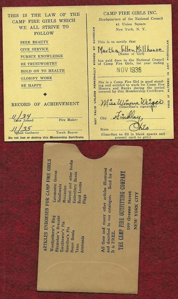 VINTAGE CAMP FIRE GIRL - 1936 MEMBERSHIP CARD - NOT SCOUT