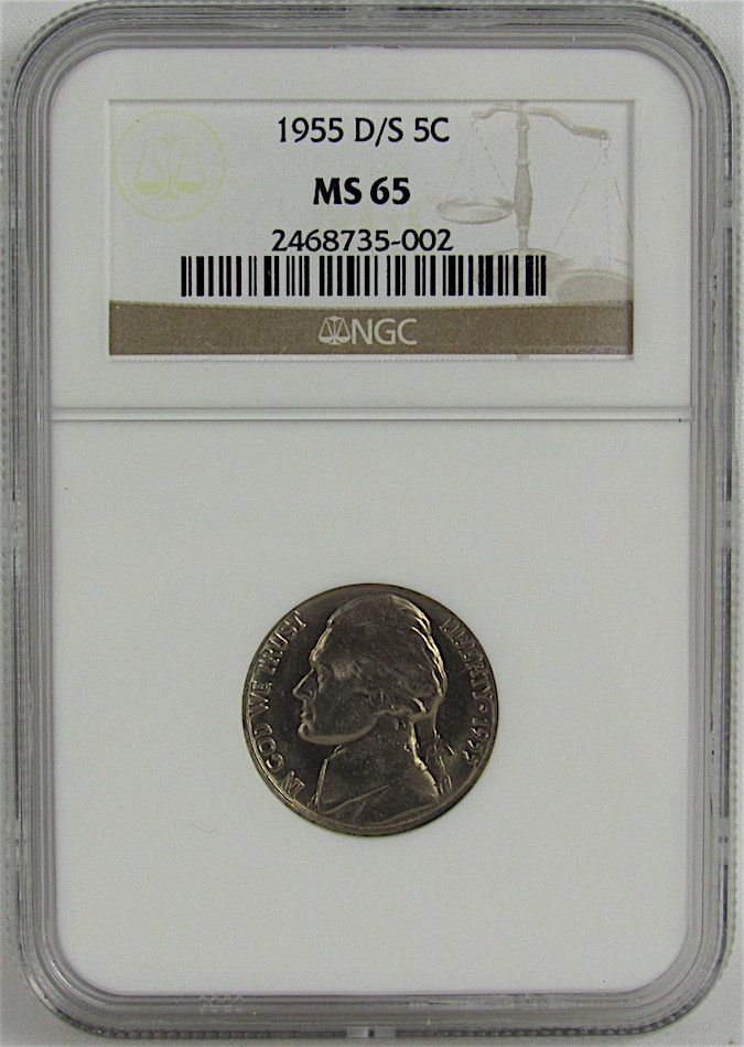 1955-D/S D OVER S JEFFERSON NICKEL NGC MS65, MS65 - PCGS