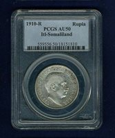 ITALY / ITALIAN SOMALILAND 1910-R 1 RUPIA SILVER COIN, PCGS CERTIFIED AU50