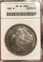 1897 Morgan Dollar MS 64 DMPL Old Small ANACS Certified Deep Mirror Prooflike