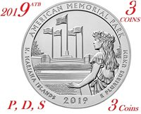 2019 P D S 25C Lowell National 3-coin set America the Beautiful Parks Quarter