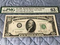 1950 $10 Chicago Federal Reserve Note FR #2010. - GW Wide (GA Block ) EPQ -T