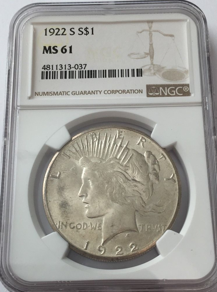 1922-s NGC MS61 PEACE Silver Dollar LITE TONING MS 61 #037, MS61