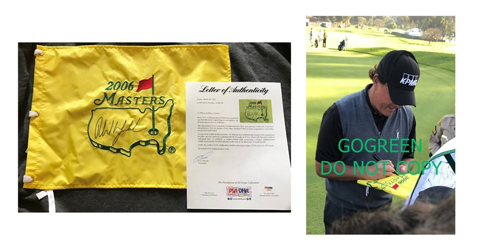 1fed0572c6a PHIL MICKELSON signed Masters golf pin flag 2006 August