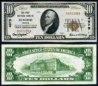 Elwood IN $10 1929 T-1 National Bank Note Ch #4675 First NB Choice AU+