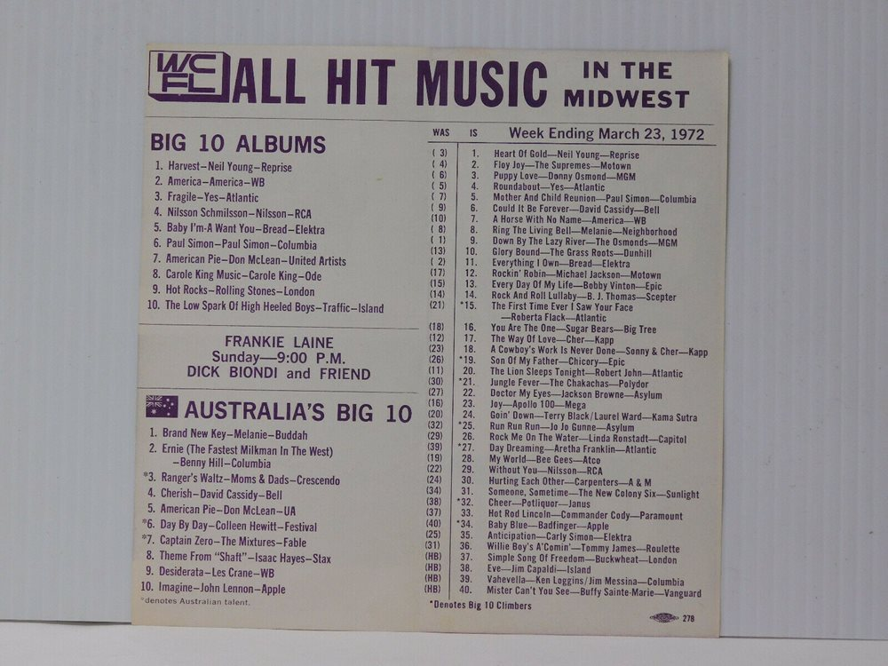 WCFL Radio Chicago All Hit Music Chart Midwest March 23 1972 Neil Young  Supremes
