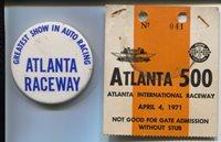 Atlanta 500 Ticket Badge & Pin Back Button-NASCAR
