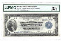 Fr. 715 1918 $1 FRBN Philadelphia PMG 35 Choice Very Fine.