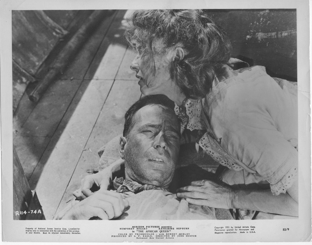 The african queen b w humphrey bogart katharine hepburn original lobby photo click to enlarge