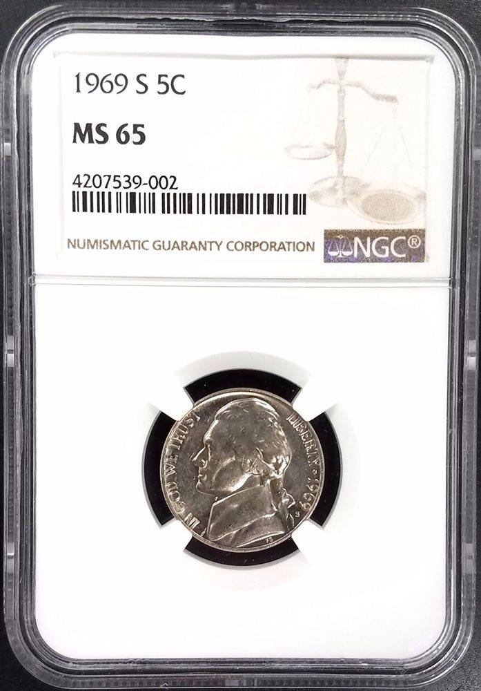 1969-S JEFFERSON NICKEL NGC MS65