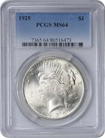 1925 Peace Dollar MS64 PCGS Mint State 64