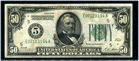 $50 1928 Richmond. Woods-Mellon. F2100E. About Uncirculated, some smudges.