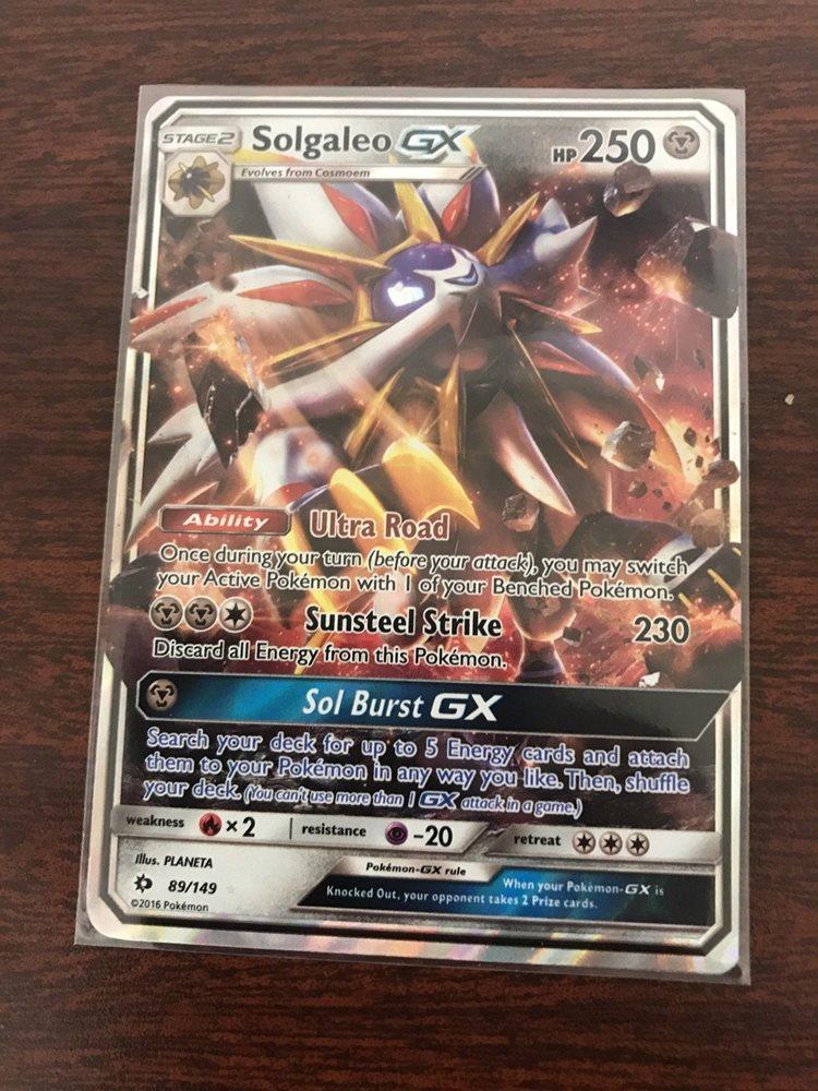 LP Pokemon SOLGALEO GX Card SUN and MOON Base Set 89//149 SM Sun Moon Ultra Rare