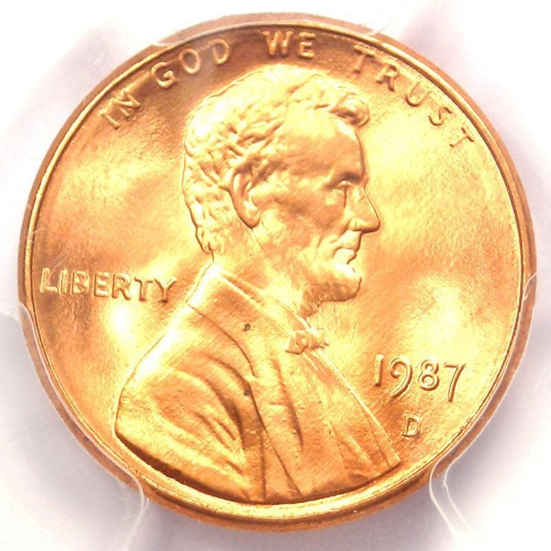 1987-D Lincoln Memorial Cent 1C Penny - Certified PCGS MS68 RD