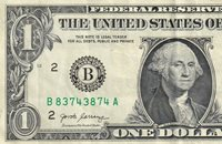 """B83743874A GOOD CONDITION DOUBLE REPEATER ONE DOLLAR NOTE""""74""""""""83"""""""