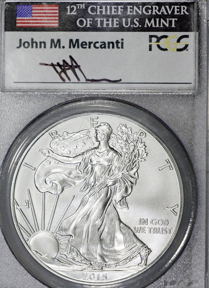 2015-W $1 1 oz Burnished Silver Eagle SP70 PCGS John Mercanti