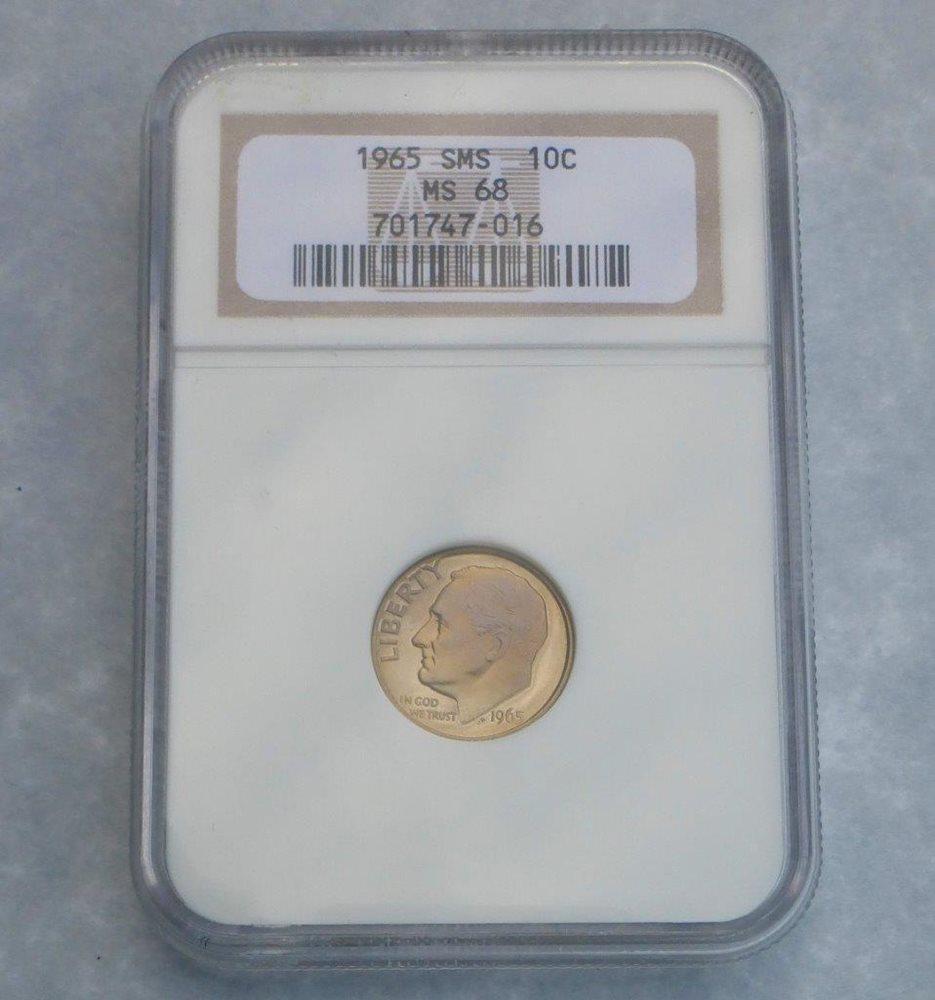 1965 NGC MS68 SMS Roosevelt Dime Light Color Tone Gem MS 68 Coin