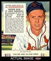 1955 Red Man # 18 NL Red Schoendienst St. Louis Cardinals (Baseball Card) (With Tab) Dean's Cards 5 - EX