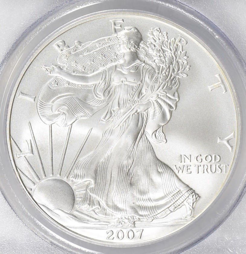 2007-W American Silver Eagle Dollar Burnished SP70 PCGS Mint State 70