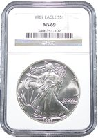 1987 American Silver Eagle Dollar NGC MS69