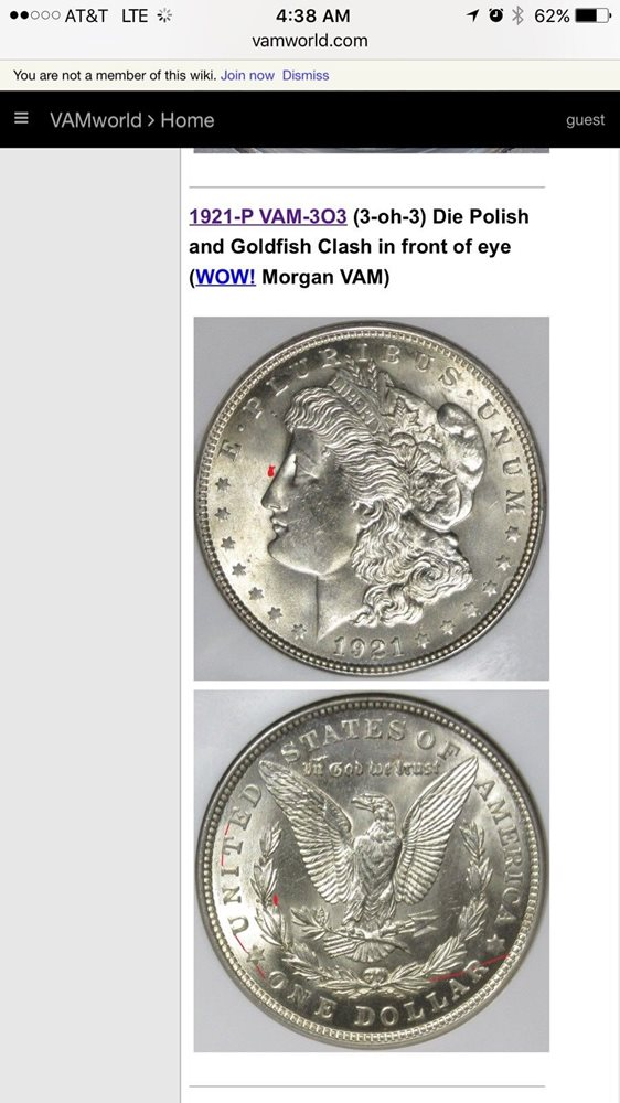1921 P Morgan Dollar Error VAM 3o3 (3-oh-3) Die Polish and