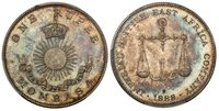 MOMBASA. 1888-H AR Rupee. PCGS SP65. Birmingham. IMPERIAL BRITISH EAST AFRICA COMPANY. Scales above date / Crown above radiant sun above banner, written value above. KM 5.Superbly toned.Please use this link to verify the PCGS certification numbe