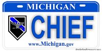 Michigan Police NOVELTY License Plate - Chief of Police Eagle Insignia