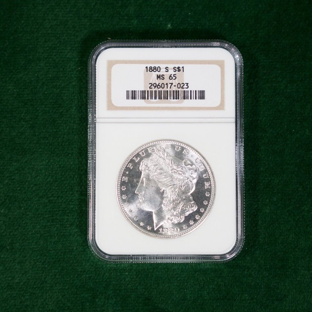 9 D 1880-S US Morgan Silver Dollar $1 Coin PCGS MS-64 Very Choice
