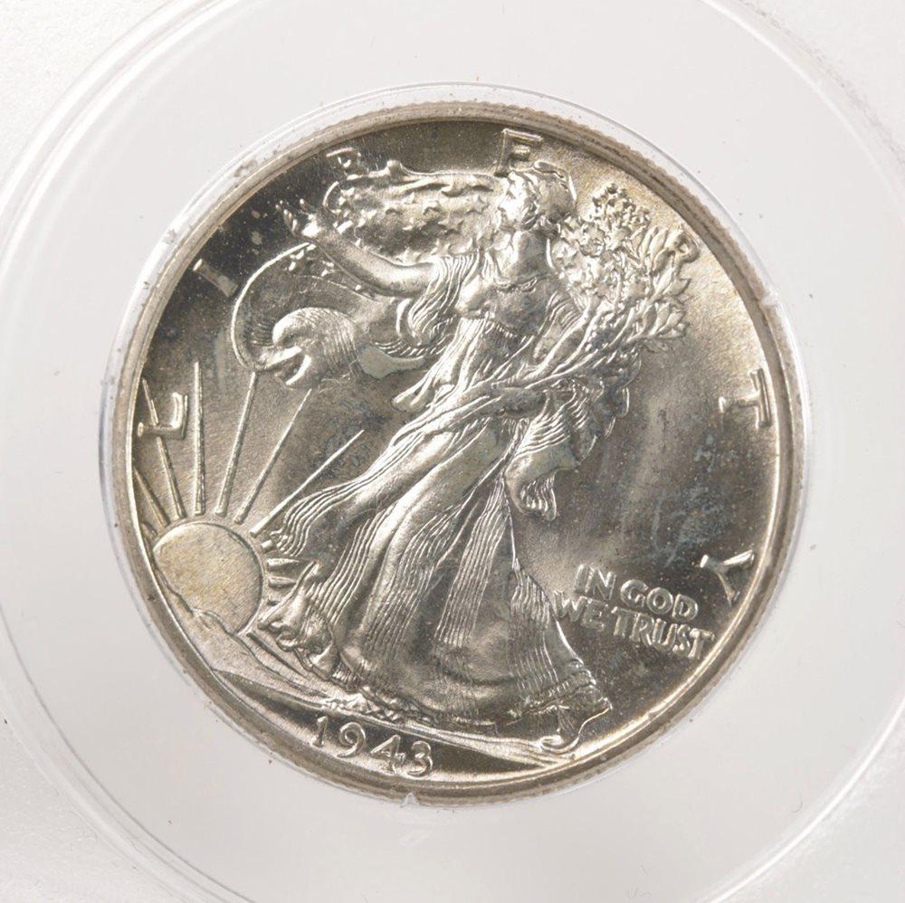 Blast White Walking Liberty Half Dollar 1943-P CHOICE BU