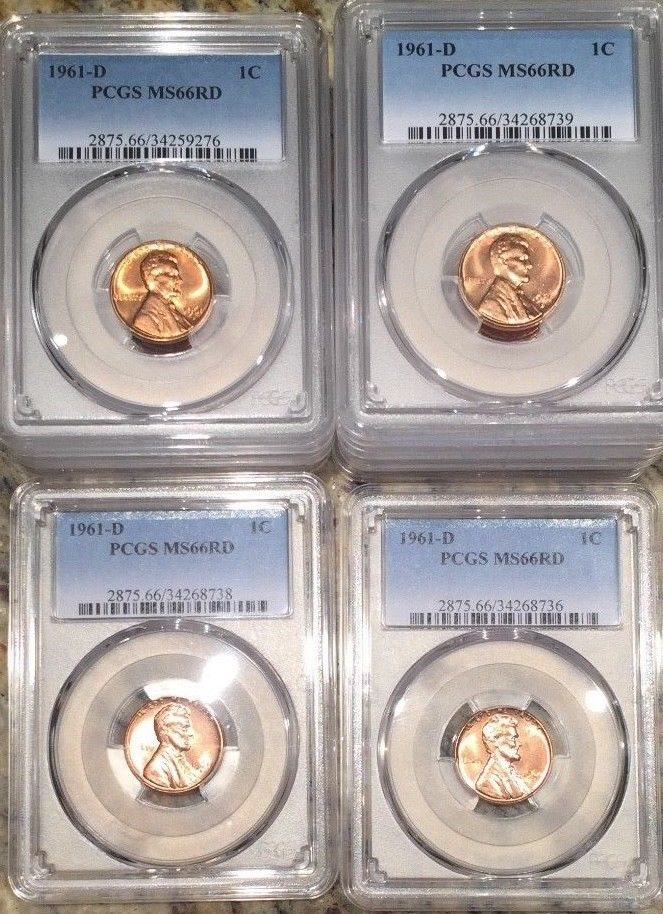 Price per Coin! 1961 D Denver Lincoln Memorial Cent PCGS Graded MS66 RD Low Pop