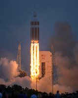NASA's Orion Spacecraft mounted atop Delta IV, lifts off from Cape Canaveral