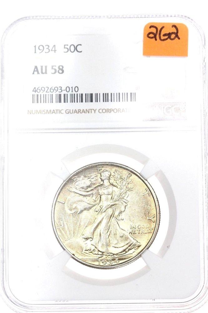 1934-P Walking Liberty Half Dollar 50C AU58 NGC Silver Coin DEEP