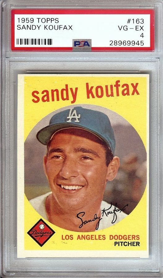 Sandy Koufax 1959 Topps Vintage Baseball Card Graded Psa Vg Ex 4 Dodgers 163