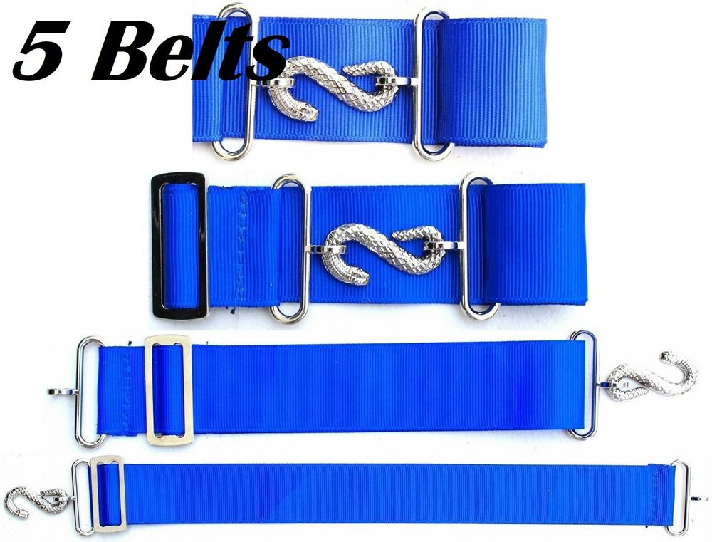 5 x APRON BELT EXTENDER EXTENSION FOR MASONIC APRONS BLUE/SILVER