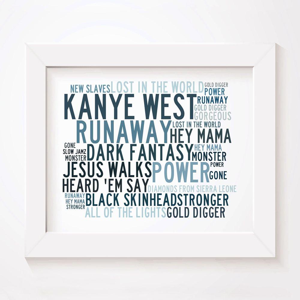 `Crystalline` KANYE WEST Art Print Typography Song Lyrics Signed Numbered  Poster