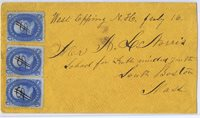 SCOTT# 63 THREE 1c STAMPS ON COVER, FANCY PEN DOLLAR SIGN CANCELS, 1861, PF CERT