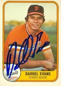 Darrell Evans Autographed Baseball Card San Francisco Giants 1981 Fleer 436