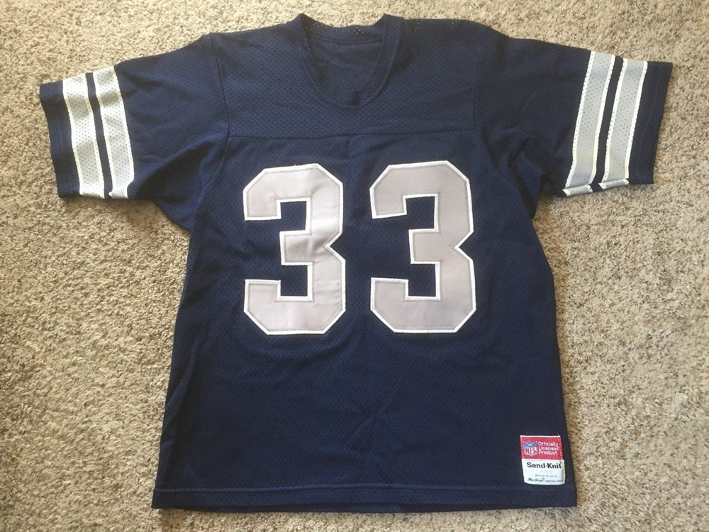 new arrival ebb19 58c09 TONY DORSETT VTG #33 Dallas Cowboys Authentic JERSEY 80s NFL SAND KNIT Sz L  Mens