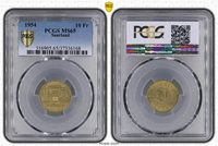 Saarland 10 Swiss Francs 1954 Fresh Mint Mint Condition PCGS MS65 (36485)
