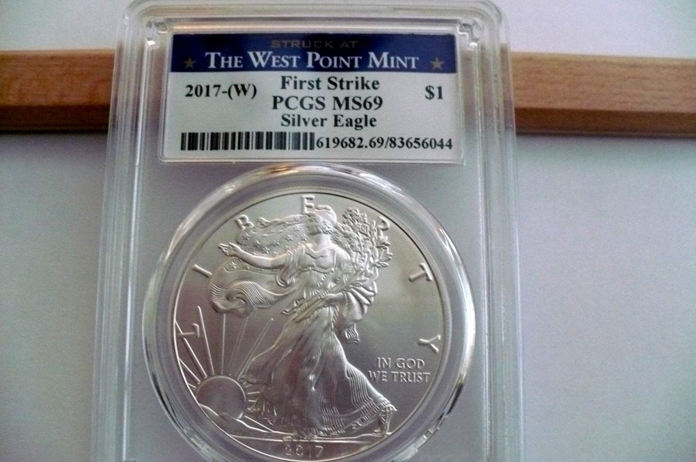 Four 2017 AMERICAN SILVER EAGLE PCGS MS69 WEST POINT FIRST STRIKE 1oz Coin W
